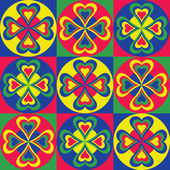 Folksy Pattern of hearts circles and squares in primary colors repeats seamlessly