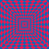 A classic optical illusion design in red and blue
