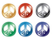 Glossy 3D Peace Symbols in popular colors