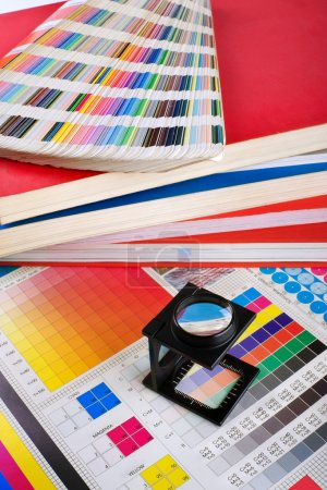 Photo for Printing color management set with magnifyer and swatches - Royalty Free Image