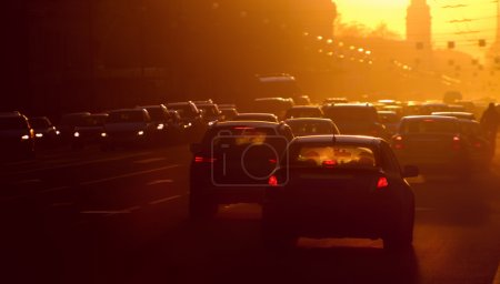 Photo for Urban traffic jam at the evening, sunlight - Royalty Free Image
