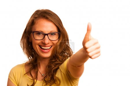 Happy caucasian woman showing thumb up as a sign of success isol
