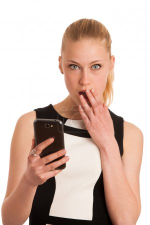 Beautiful young caucasian business woman with smartphone communi
