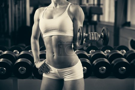 Beautiful fit woman working out in gym - girl in fitness