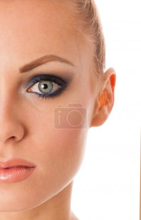Beauty portrait of woman with perfect makeup, smokey eyes, full