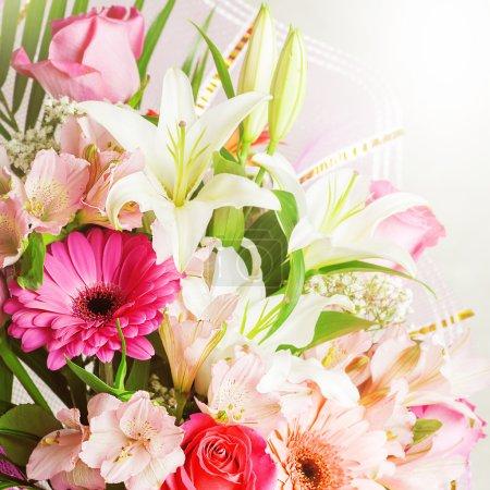 Big bunch of beautiful bright flowers