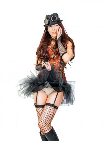 Portrait of a beautiful young steampunk woman