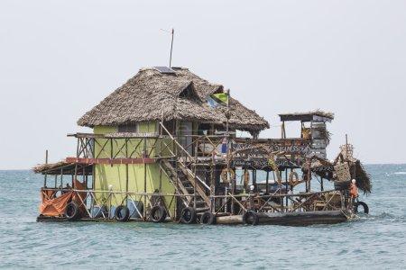 Boats in the Indian Ocean in the Zanzibar archipelago. Formerly