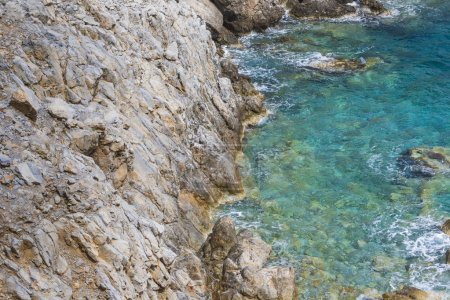 Beautiful Deep blue sea and rocks in Greece