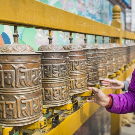 Buddhist prayer wheels, Kathmandu, Nepal.