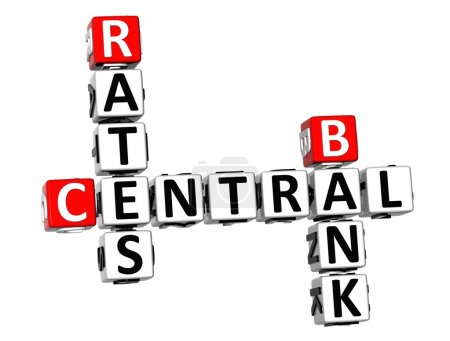 3D Crossword Central Bank Rates on white background
