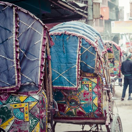 colorful nepalese rickshaw in the streets of kathmandu