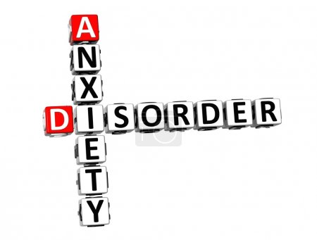 Photo for 3D Crossword Anxiety Disorder over white background. - Royalty Free Image