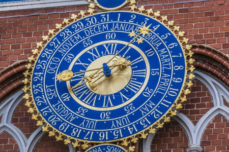 Detail of astronomical clock on the House of Blackheads, Riga, L
