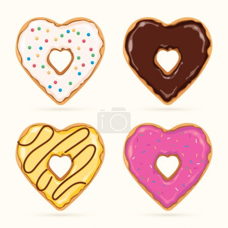 Vector set of colorful heart shaped donuts...