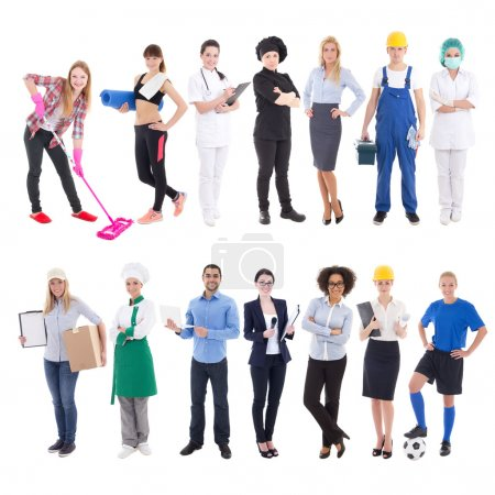 Photo pour Professions concept - set of different people isolated on white background - image libre de droit