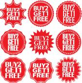 Buy 2 get 1 free red label Buy 2  get 1 free red sign Buy 2 ge