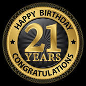 21 years happy birthday congratulations gold label vector illus