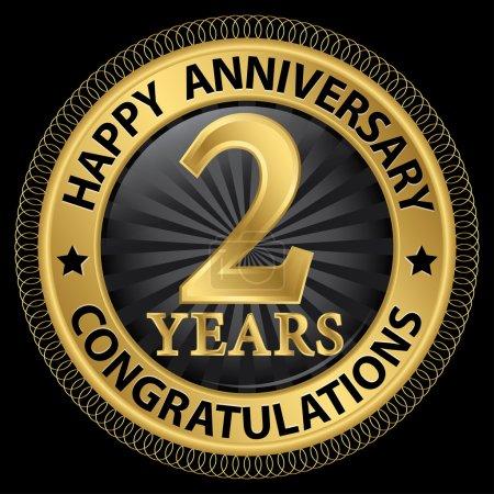 Illustration pour 2 ans joyeux anniversaire félicitations étiquette d'or avec ruban, illustration vectorielle - image libre de droit