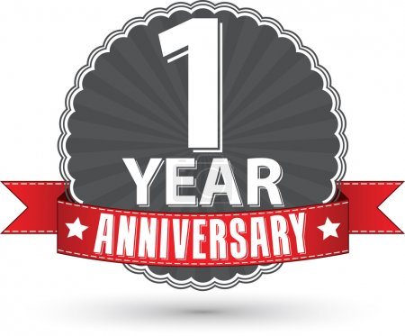 Celebrating 1 year anniversary retro label with red ribbon, vect