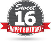 Happy birthday 16 years retro label with red ribbon vector illustration