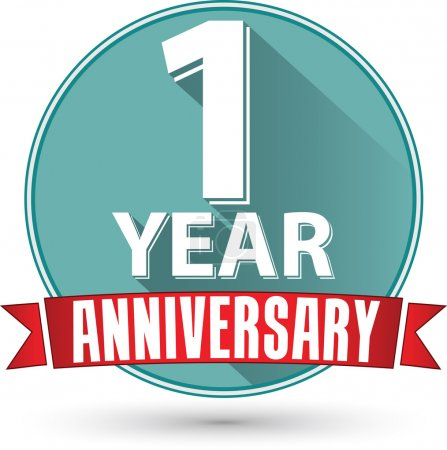 Flat design 1 year anniversary label with red ribbon, vector ill