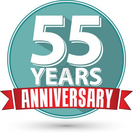 Flat design 55 years anniversary label with red ribbon, vector i