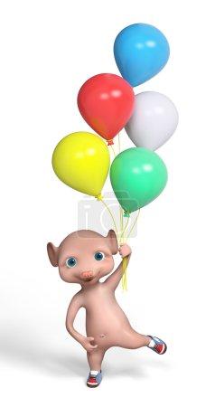 Foto de Personajes en 3D de dibujos animados divertido ratón sosteniendo globos multicolores aislaron render 3d - Imagen libre de derechos