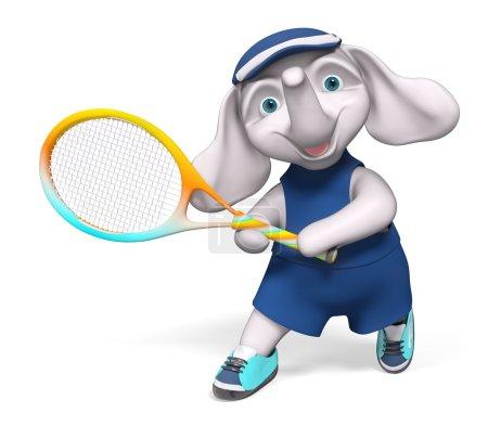 Foto de Elefante de carácter holding tenis render 3d de la raqueta, de dibujos animados aislados - Imagen libre de derechos