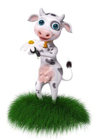 Foto de Vaca de personaje de dibujos animados tiene manzanilla en manos aisladas, render 3d - Imagen libre de derechos