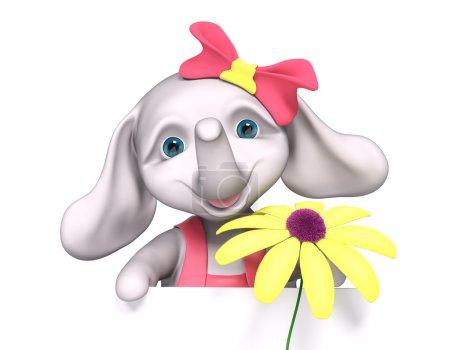 Foto de Elefante bebé niña de dibujos animados con el cartel, tiene manzanilla en las manos, aisladas render 3d - Imagen libre de derechos