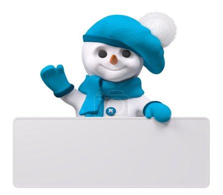 Foto de Sonrisa de muñeco de nieve con render 3d aislado de banner - Imagen libre de derechos