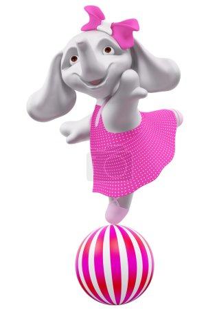 Foto de Elefantito de carácter salto de la bola 3d representación aislada - Imagen libre de derechos