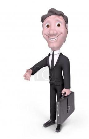 Foto de Empresario de carácter con maletín dando su mano para un apretón de manos aislada render 3d - Imagen libre de derechos