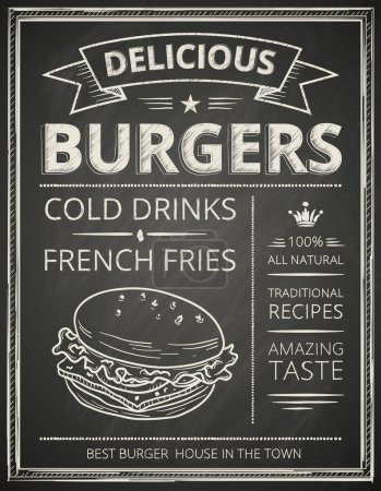 Illustration for Burger poster stylized like sketch drawing on the chalkboard.Vector illustration. - Royalty Free Image
