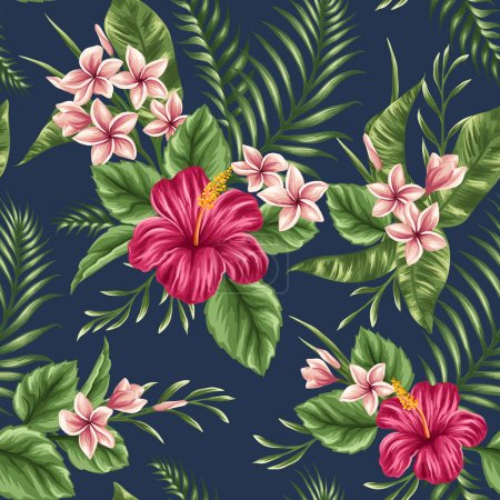 Illustration for Tropical floral seamless pattern with plumeria and hibiscus flowers - Royalty Free Image