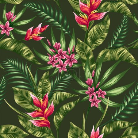 Illustration for Tropical floral seamless pattern with plumeria and heliconia flowers in watercolor styl - Royalty Free Image
