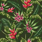 Tropical floral seamless pattern with plumeria and heliconia flowers in watercolor styl