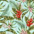 Seamless pattern with tropical flowers in watercol...