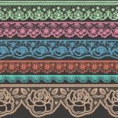 Sada dekorativní hranic stylizované jako tkaničky