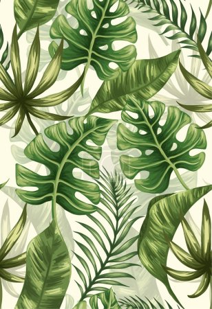 Illustration for Seamless pattern with tropical palm leaves - Royalty Free Image