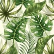 Seamless pattern with tropical palm leaves...
