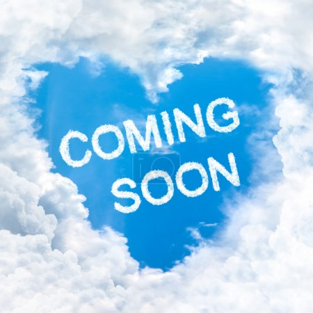 coming soon word on blue sky