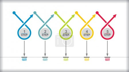 Illustration for Vector flow chart template with color arrows - Royalty Free Image