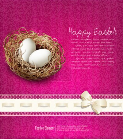 Illustration for Vector easter, vintage background with a nest and eggs - Royalty Free Image