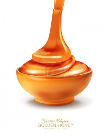 Illustration pour Objet vectoriel - un bol est rempli de miel sur fond blanc - image libre de droit