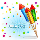 background with firecrackers and confetti