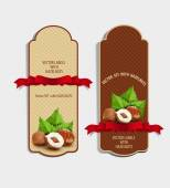 set of vertical labels with hazelnuts