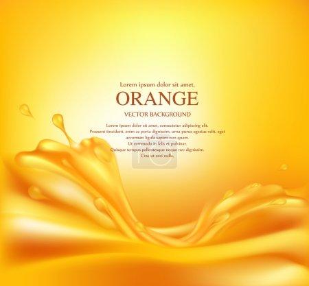 Illustration pour Vecteur fond orange juteux avec des éclaboussures de jus - image libre de droit