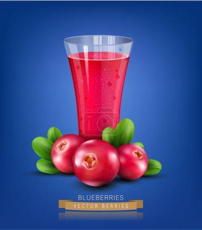 Illustration pour Coupe en verre vectoriel avec jus de canneberges sur fond bleu - image libre de droit